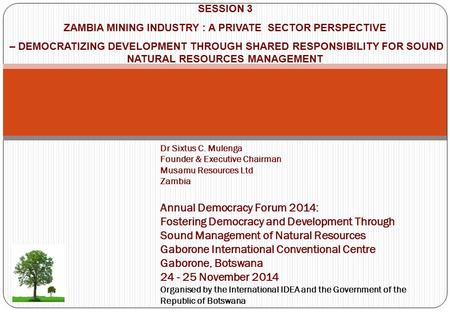ZAMBIA MINING INDUSTRY : A PRIVATE SECTOR PERSPECTIVE