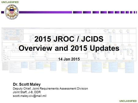 UNCLASSIFIED 2015 JROC / JCIDS Overview and 2015 Updates 14 Jan 2015 Dr. Scott Maley Deputy Chief, Joint Requirements Assessment Division Joint Staff,