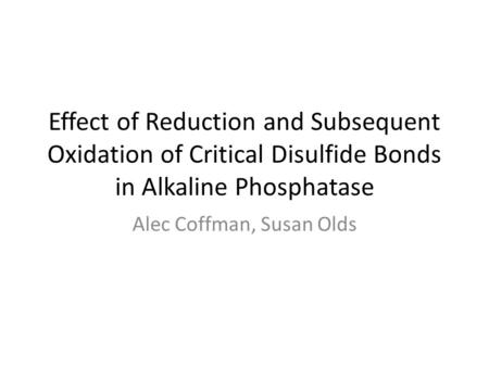 Effect of Reduction and Subsequent Oxidation of Critical Disulfide Bonds in Alkaline Phosphatase Alec Coffman, Susan Olds.