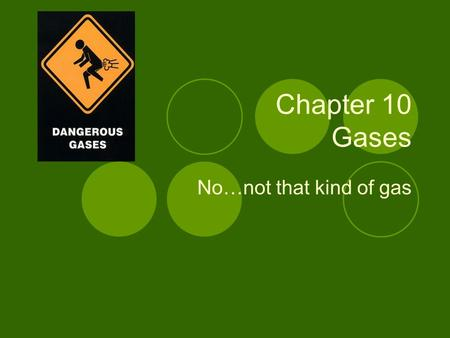 Chapter 10 Gases No…not that kind of gas. Kinetic Molecular Theory of Gases Kinetic Molecular Theory of Gases – Based on the assumption that gas molecules.