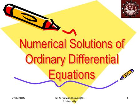 Numerical Solutions of Ordinary Differential Equations