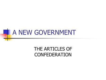 A NEW GOVERNMENT THE ARTICLES OF CONFEDERATION. ARTICLES OF CONFEDERATION 1st form of a constitution for new country states had to create own government.