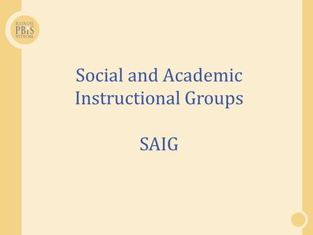 Social and Academic Instructional Groups SAIG