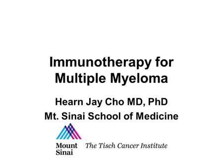 Immunotherapy for Multiple Myeloma