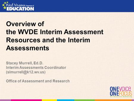 Overview of the WVDE Interim Assessment Resources and the Interim Assessments Stacey Murrell, Ed.D. Interim Assessments Coordinator