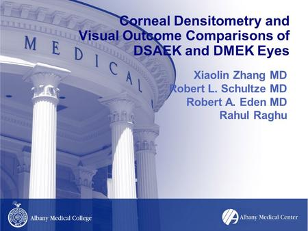 Corneal Densitometry and Visual Outcome Comparisons of DSAEK and DMEK Eyes Xiaolin Zhang MD Robert L. Schultze MD Robert A. Eden MD Rahul Raghu.
