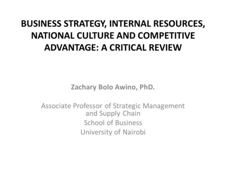 Associate Professor of Strategic Management and Supply Chain