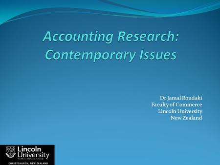 Accounting Research: Contemporary Issues