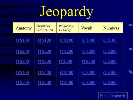 Jeopardy Anatomy Vocab Numbers Q $100 Q $100 Q $100 Q $100 Q $100