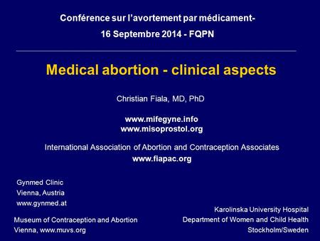 Medical abortion - clinical aspects
