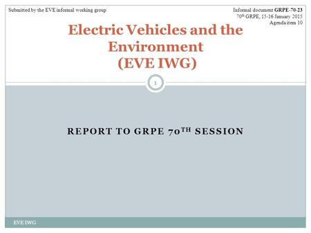 REPORT TO GRPE 70 TH SESSION EVE IWG 1 Electric Vehicles and the Environment (EVE IWG) Informal document GRPE-70-23 70 th GRPE, 15-16 January 2015 Agenda.