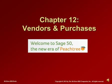 Chapter 12: Vendors & Purchases