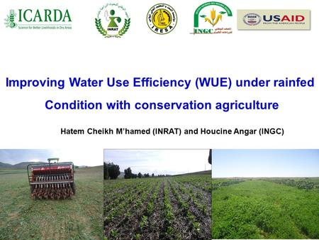 Improving Water Use Efficiency (WUE) under rainfed Condition with conservation agriculture Hatem Cheikh M'hamed (INRAT) and Houcine Angar (INGC)