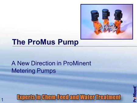 1 The ProMus Pump A New Direction in ProMinent Metering Pumps.