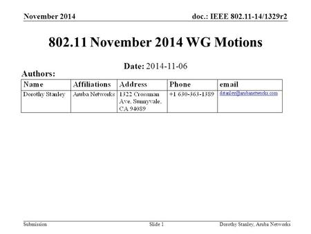 Doc.: IEEE 802.11-14/1329r2 Submission November 2014 802.11 November 2014 WG Motions Date: 2014-11-06 Authors: Dorothy Stanley, Aruba NetworksSlide 1.
