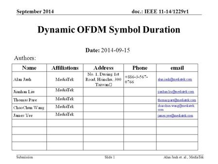 Doc.: IEEE 11-14/1229r1 Submission Dynamic OFDM Symbol Duration September 2014 Alan Jauh et. al., MediaTekSlide 1 Date: 2014-09-15 Authors:
