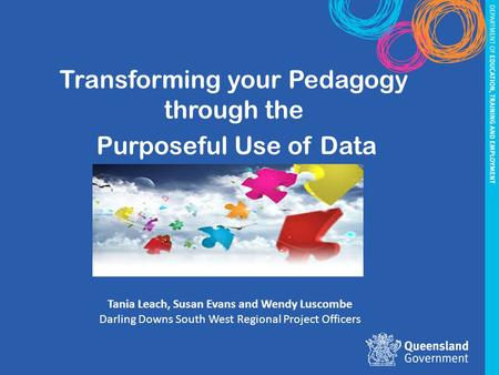 … shifting the spotlight from teaching to learning Transforming your Pedagogy through the Purposeful Use of Data Tania Leach, Susan Evans and Wendy Luscombe.
