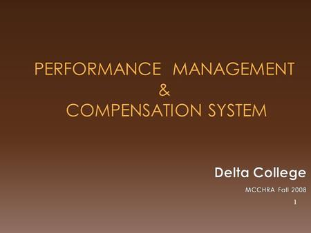 PERFORMANCE MANAGEMENT & COMPENSATION SYSTEM