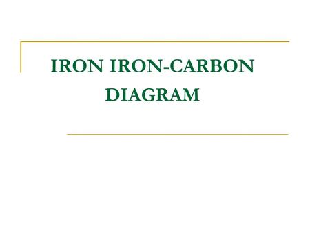 IRON IRON-CARBON DIAGRAM Ferrite Austenite SteelCast iron Pearlite Pearlite and Cementine Pearlite and Carbide Eutectic eutectoid.