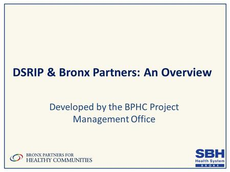DSRIP & Bronx Partners: An Overview Developed by the BPHC Project Management Office.