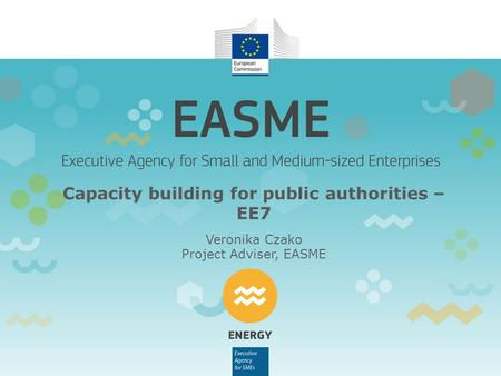 Capacity building for public authorities – EE7 Veronika Czako Project Adviser, EASME.