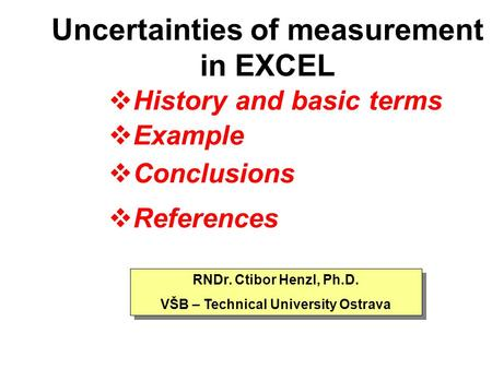 Uncertainties of measurement in EXCEL