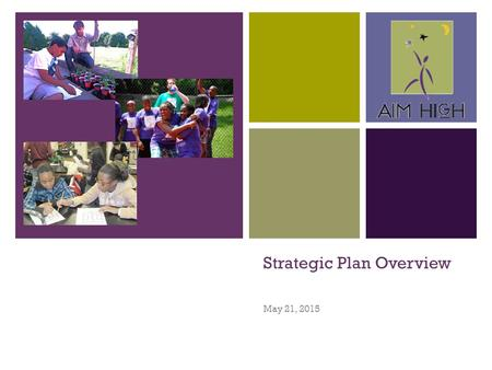+ Strategic Plan Overview May 21, 2015. + Process Full Board Retreat – Vision, Values, SWOT and Strategic Issue Area Identification – January Strategic.