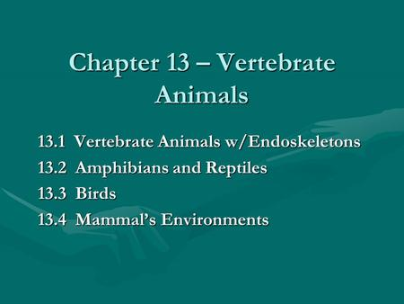 Chapter 13 – Vertebrate Animals 13.1 Vertebrate Animals w/Endoskeletons 13.2 Amphibians and Reptiles 13.3 Birds 13.4 Mammal's Environments.