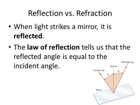 Reflection vs. Refraction When light strikes a mirror, it is reflected. The law of reflection tells us that the reflected angle is equal to the incident.