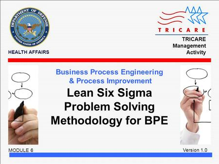 TRICARE Management Activity HEALTH AFFAIRS Version 1.0 Business Process Engineering & Process Improvement MODULE 6 Lean Six Sigma Problem Solving Methodology.