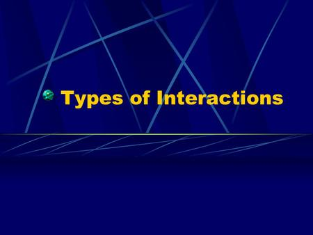 Types of Interactions. In natural communities, populations of different species vary greatly. The interactions of these populations affect the size of.