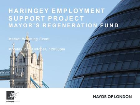 HARINGEY EMPLOYMENT SUPPORT PROJECT MAYOR'S REGENERATION FUND