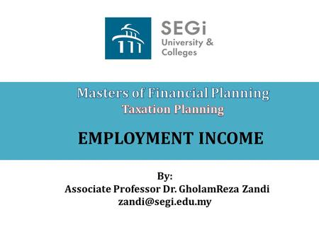 Masters of Financial Planning Associate Professor Dr. GholamReza Zandi