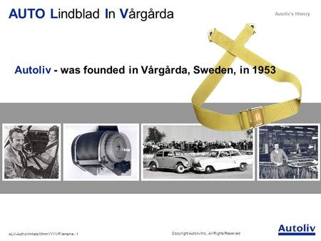Autoliv - was founded in Vårgårda, Sweden, in 1953