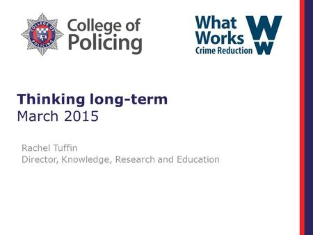 Thinking long-term March 2015 Rachel Tuffin Director, Knowledge, Research and Education.