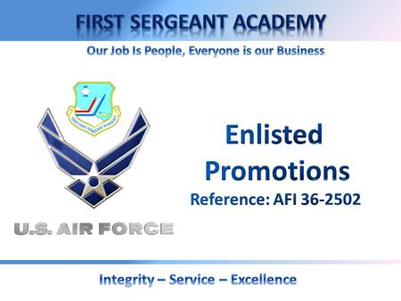 OVERVIEW  Objective  Promotion Authority  Promotion Methods  Promotion Procedures  Promotion Actions  First Sergeant Responsibilities.