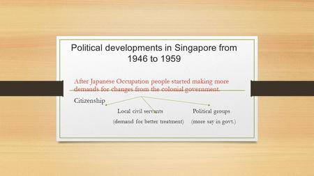 Political developments in Singapore from 1946 to 1959