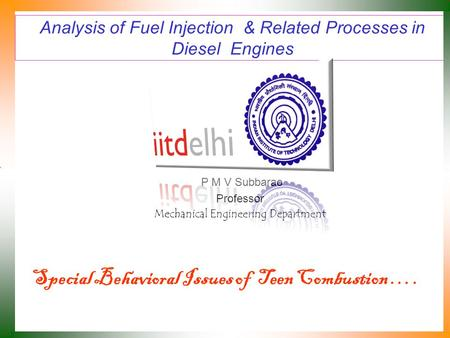 Analysis of Fuel Injection & Related Processes in Diesel Engines