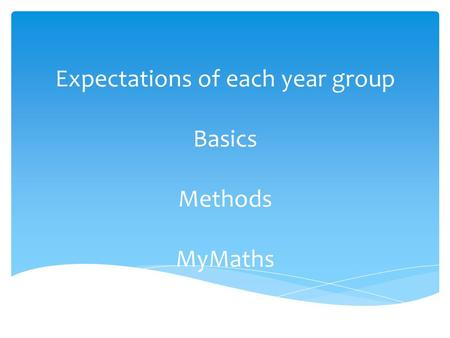 Expectations of each year group Basics Methods MyMaths