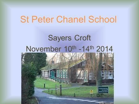 St Peter Chanel School Sayers Croft November 10 th -14 th 2014.