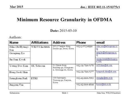 Submission doc.: IEEE 802.11-15/0375r1 Mar 2015 John Son, WILUS InstituteSlide 1 Minimum Resource Granularity in OFDMA Date: 2015-03-10 Authors: