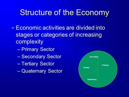 Structure of the Economy F Economic activities are divided into stages or categories of increasing complexity –Primary Sector –Secondary Sector –Tertiary.