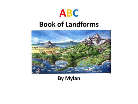 ABC Book of Landforms By Mylan. ATOLL ATOLL- Example: Bikini Atoll in the Pacific Ocean A coral island that consists of a coral reef, surrounding a lagoon.