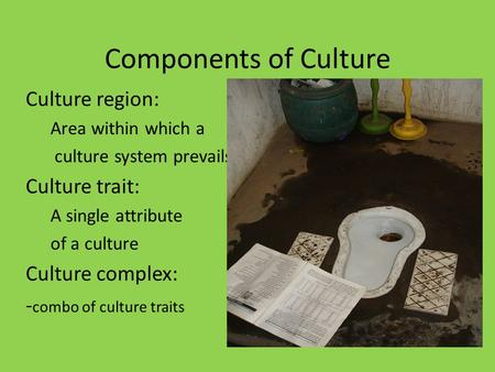 Components of Culture Culture region: Area within which a culture system prevails Culture trait: A single attribute of a culture Culture complex: - combo.