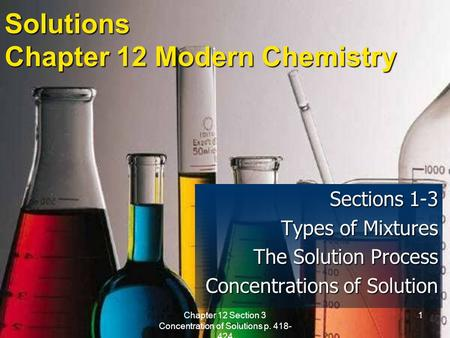 Chapter 12 Section 3 Concentration of Solutions p. 418- 424 1 Solutions Chapter 12 Modern Chemistry Sections 1-3 Types of Mixtures The Solution Process.