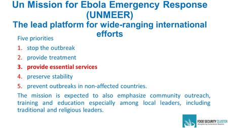 Un Mission for Ebola Emergency Response (UNMEER) The lead platform for wide-ranging international efforts Five priorities 1.stop the outbreak 2.provide.