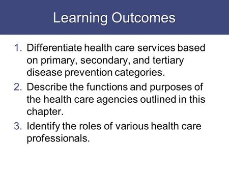 Learning Outcomes 1.Differentiate health care services based on primary, secondary, and tertiary disease prevention categories. 2.Describe the functions.