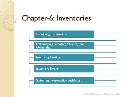 Chapter-6: Inventories Classifying Inventories Determining Inventory Quantity and Ownership Inventory CostingInventory ErrorsStatement Presentation and.