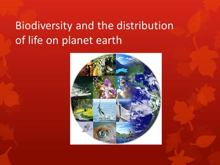 Biodiversity and the distribution of life on planet earth.