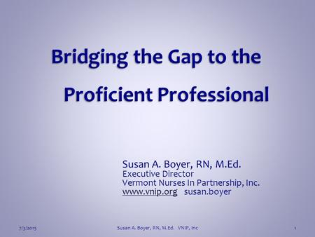 Bridging the Gap to the Proficient Professional